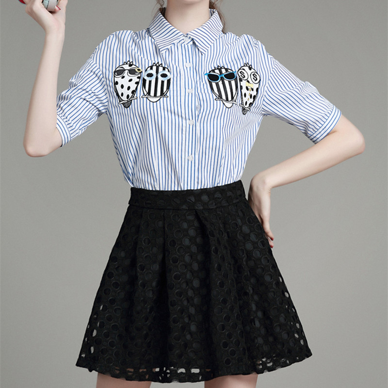 new-2016-summer-europe-fresh-font-b-blue-b-font-and-white-striped-shirt-patch-hollow